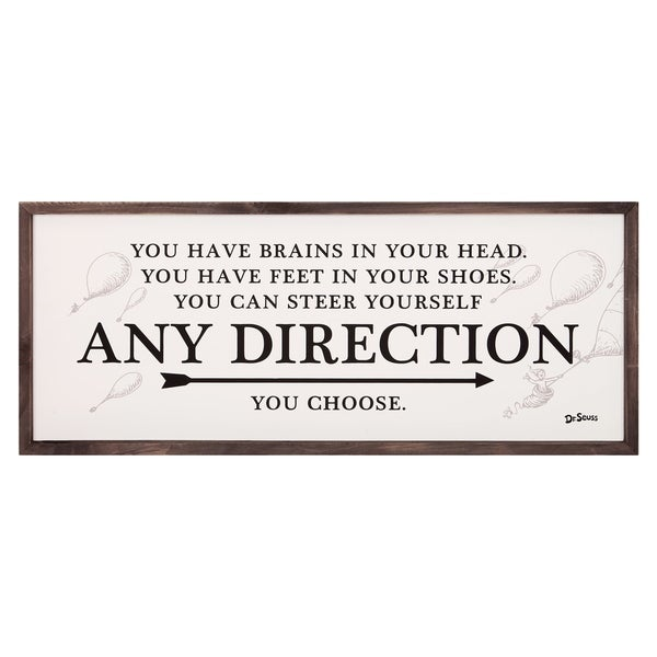 31x13 Dr. Seuss Any Direction You Choose Framed Wood Wall Décor - Black/White