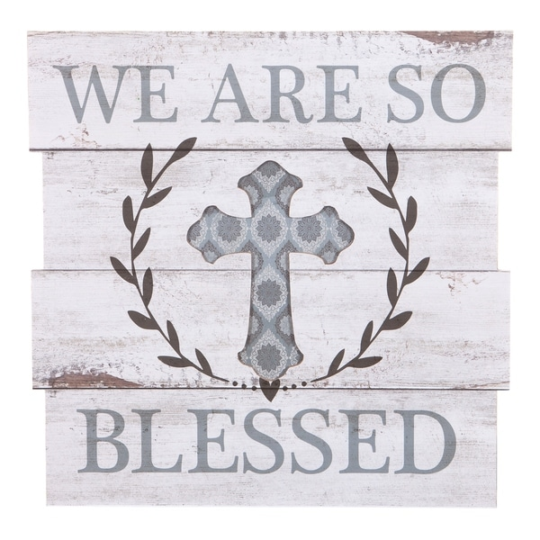 18x18 We Are So Blessed Wood Plank Wall Art - Blue/White
