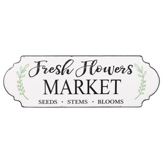Farmers Market Metal Hand-painted Fresh Flowers Wall Sign