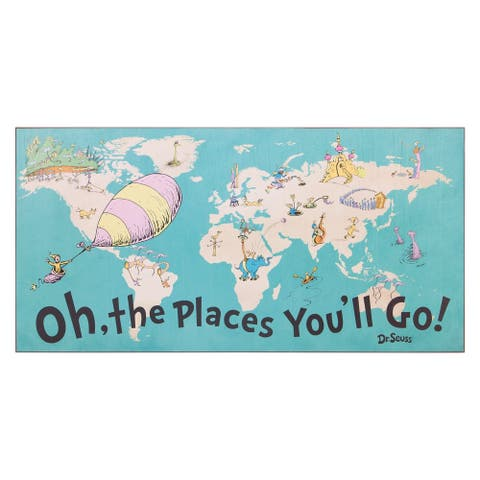 Dr. Seuss Oh The Places You'll Go World Map Wood Wall Art