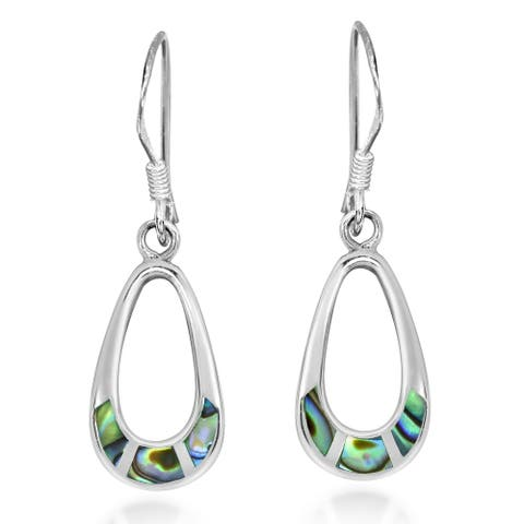 Handmade Vibrant Inlay Teardrop Sterling Silver Dangle Earrings (Thailand)