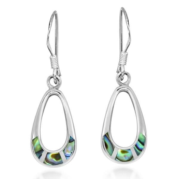 Handmade Vibrant Inlay Teardrop Sterling Silver Dangle Earrings (Thailand). Opens flyout.