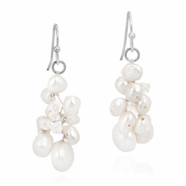 c0ea90d34 Handmade Sophisticated Elegance Freshwater Pearl Crystal Cluster Dangle  Earrings (Thailand)