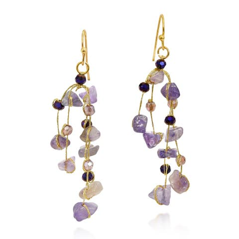 Handmade Gorgeous Waterfall of Stone and Crystal on Silk Thread Dangle Earrings (Thailand)