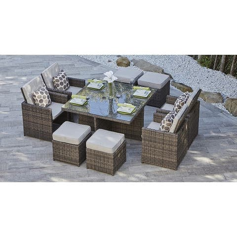 9-Piece Outdoor Dining Table Set With Cushions by Moda Furnishings