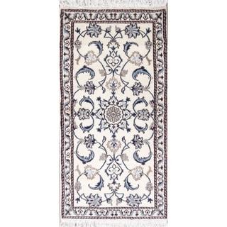 "Nain Floral Hand Knotted Wool Persian Rug - 4'7"" x 2'3"" Runner"