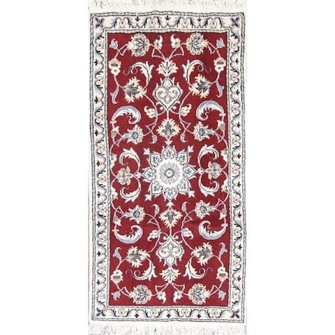 "Nain Floral Hand Knotted Wool Persian Rug - 4'8"" x 2'3"" Runner"