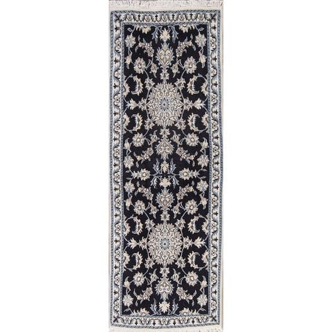 "Nain Floral & Botanical Hand Knotted Wool Persian Rug - 6'9"" x 2'6"" Runner"
