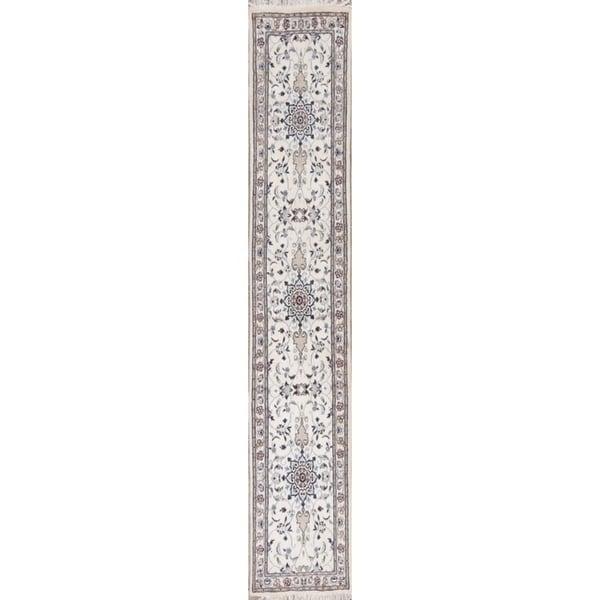 "Nain Floral Handmade Wool & Silk Persian Rug - 10'1"" x 2'1"" Runner"