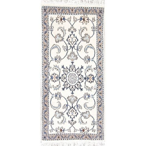 "Nain Floral Hand Knotted Wool Persian Rug - 4'7"" x 2'2"" Runner"