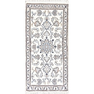 "Nain Floral Hand Knotted Wool Persian Rug - 4'8"" x 2'2"" Runner"