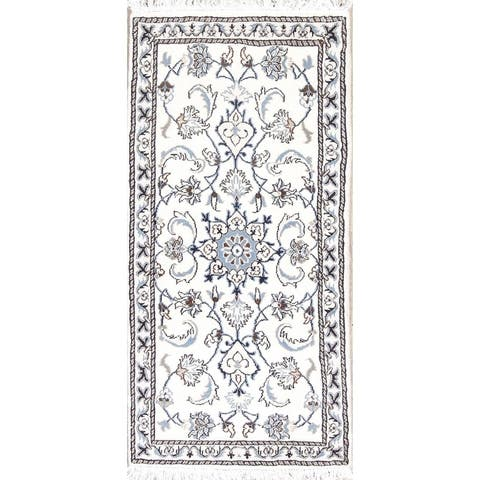 "Nain Floral Hand Knotted Wool Persian Rug - 4'8"" x 2'3"" Runner"