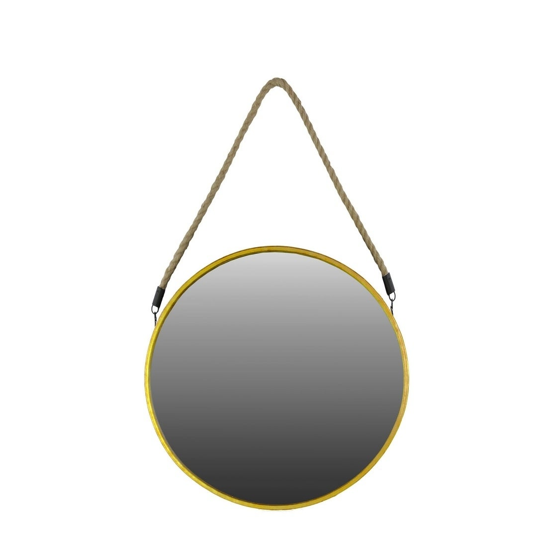 Shop Urban Trends Metal Round Mirror With Rope Hanger In Metallic Finish Large Antique Gold Antique Gold On Sale Overstock 27358806