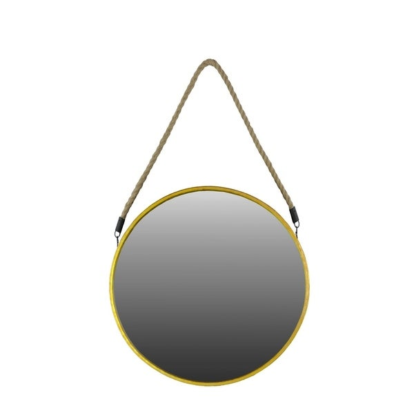 Urban Trends Metal Round Mirror with Rope Hanger in Metallic Finish, Large - Antique Gold - Antique Gold