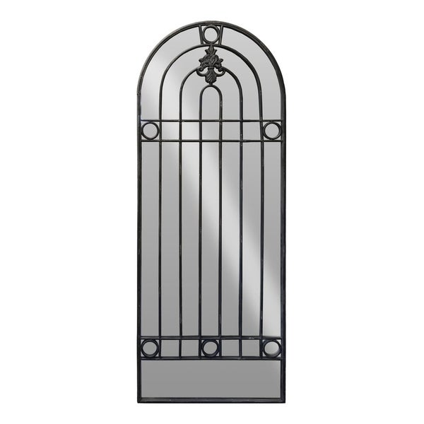 Urban Trends Metal Leaner Mirror with Arch and Fleur de Lis Ironworks in Tarnished Finish - Black