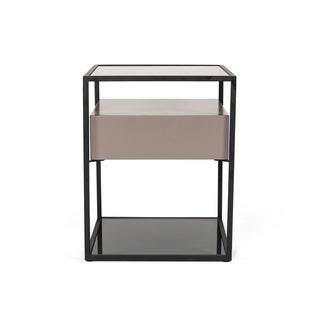 Modrest Perkins Modern Smoked Glass & Grey End Table