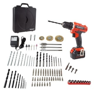 20V Cordless Drill with Rechargeable Battery and 89 Piece Accessory Set- Power Tool with Bits, Drivers and Brushes by Stalwart