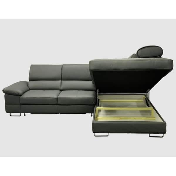 Shop Costa Leather Sectional Sleeper Sofa Right Corner