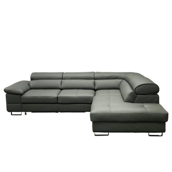 Shop COSTA Leather Sectional Sleeper Sofa, Right Corner ...