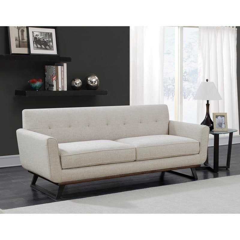 Willow Beige Tufted Mid Century Modern Sofa