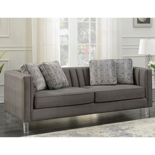 Everly Gray Channel Back Modern Sofa