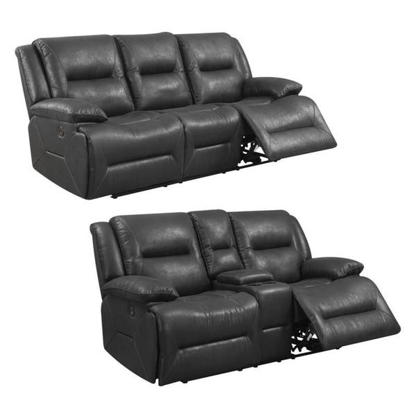 Pleasant Shop Whitall Charcoal Black Faux Leather Power Reclining Frankydiablos Diy Chair Ideas Frankydiabloscom