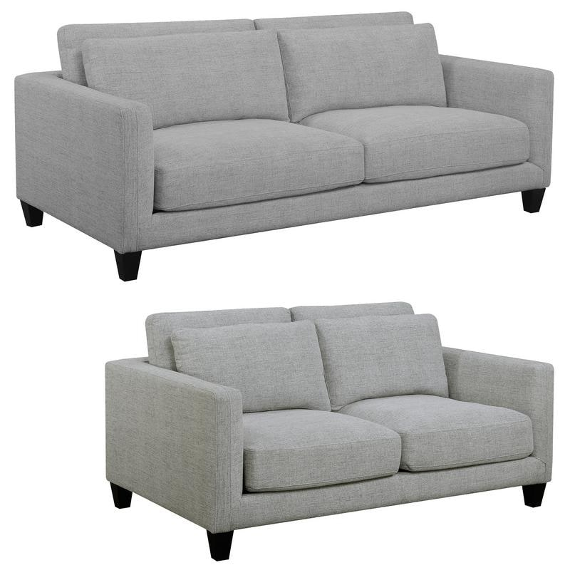 Brayden Light Gray Mid Century Modern Sofa and Loveseat - 85.5 x 42 x 34