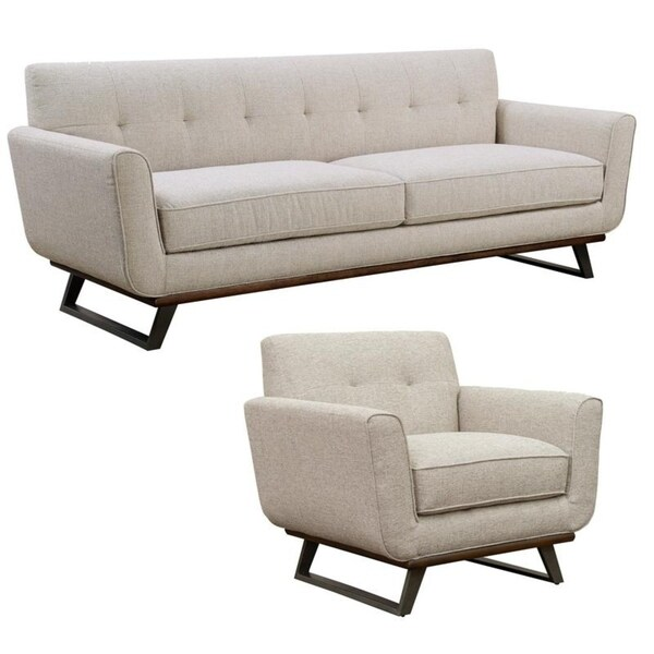 Willow Beige Tufted Mid Century Modern Sofa and Chair