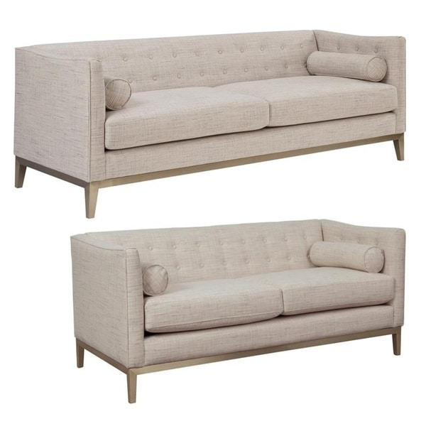 Quinn Cream Tufted Mid Century Modern Sofa and Loveseat