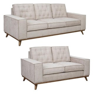 Frank Beige Tufted Mid Century Modern Sofa and Loveseat