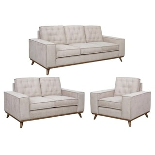 Frank Beige Tufted Mid Century Modern Sofa, Loveseat and Chair