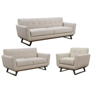 Willow Beige Tufted Mid Century Modern Sofa, Loveseat and Chair