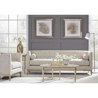 Quinn Cream Tufted Mid Century Modern Sofa and Chair