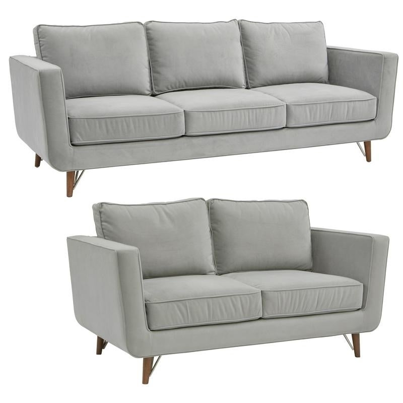 Cena Gray Mid Century Modern Sofa and Loveseat