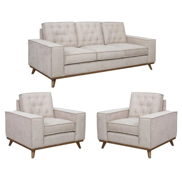 Frank Beige Tufted Mid Century Modern Sofa and Two Chairs