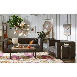 Fairmount Distressed Brown Leather Modern Sofa and Chair