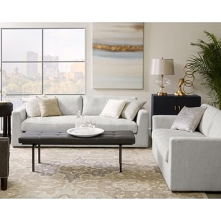 Werner Light Grey Fabric Modern Sofa and Loveseat