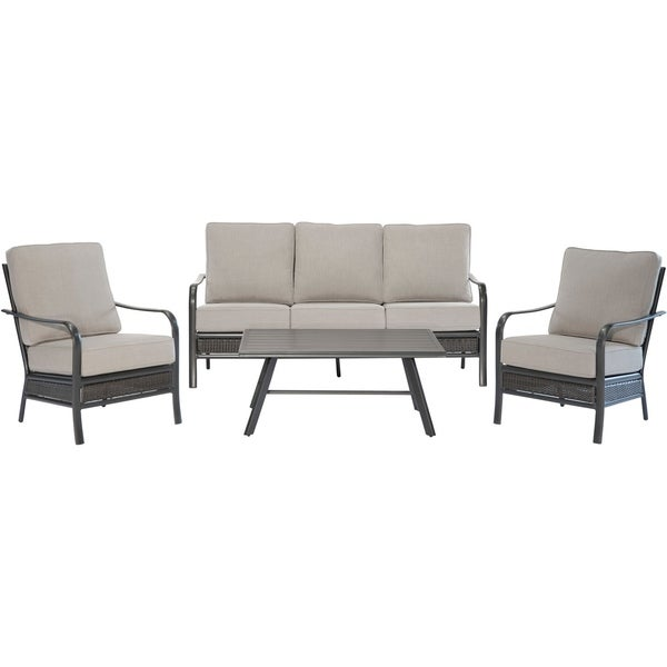 Hanover Oakmont 4 Piece Commercial Grade Patio Set With 2 Aluminum Woven Club