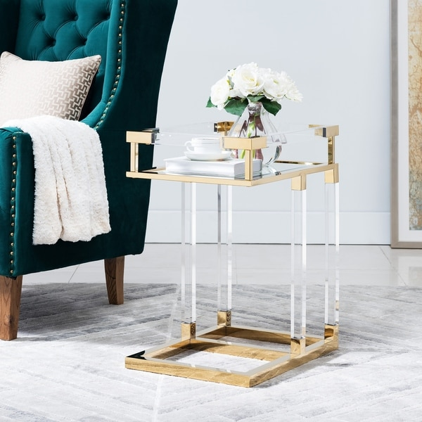 Silver Orchid Hinding Gold Acrylic Mirrored C-Table