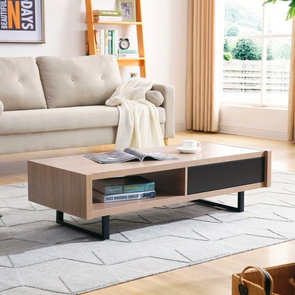 Shop Ash Mid-Century Modern Tan Finish Wood Living Room