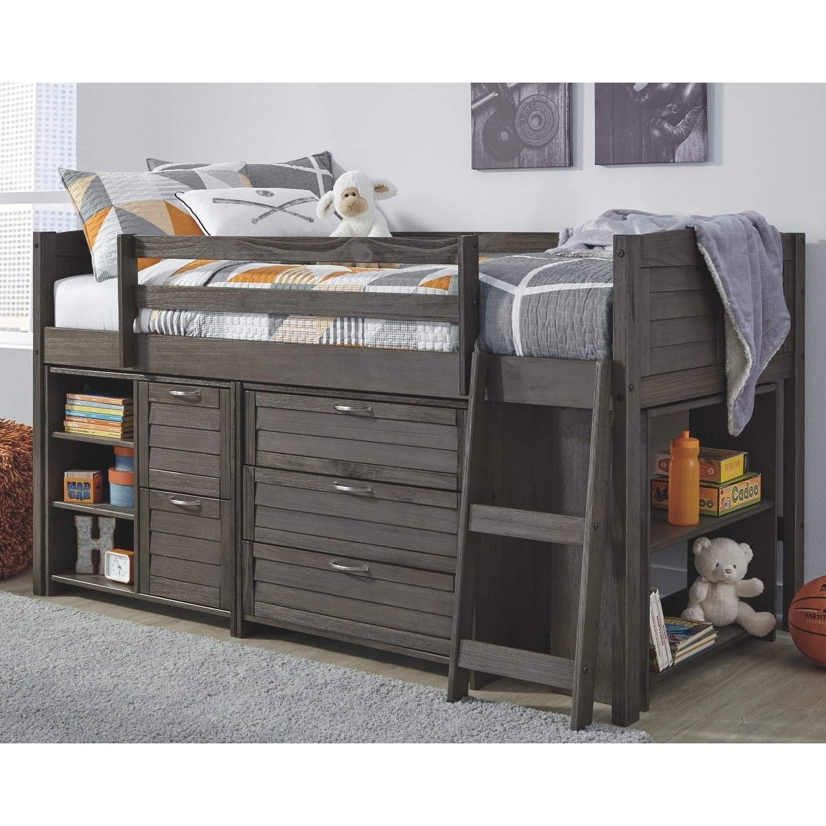 Caitbrook Gray Twin Loft Bed With Storage