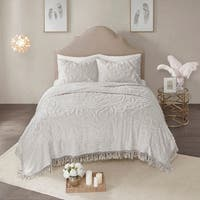 Madison Park Virginia Grey 3-Piece King - Cal King Size Tufted Cotton Chenille Medallion Fringe Coverlet Set (As Is Item)