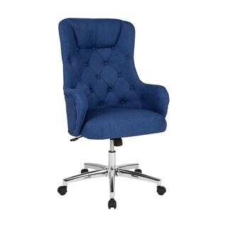 Offex Home and Office High Back Swivel Chair in Blue Fabric Upholstery