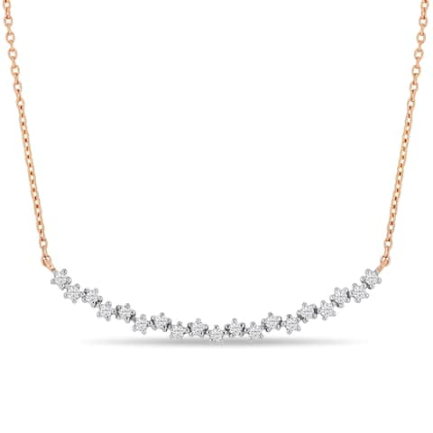 Miadora 18k Rose Gold 1/3ct TDW Diamond Bar Necklace