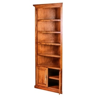 "Traditional Oak Corner Bookcase 27x27 from Corner w/Lower Doors 84""H"