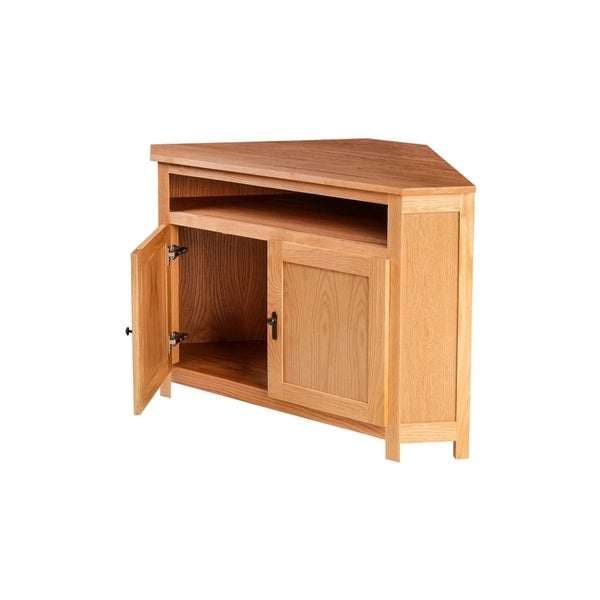 Traditional Corner TV Stand 51W x 32H x 32D. Opens flyout.