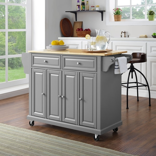 Natural Wood Top Kitchen Cart/Island In Vintage Grey