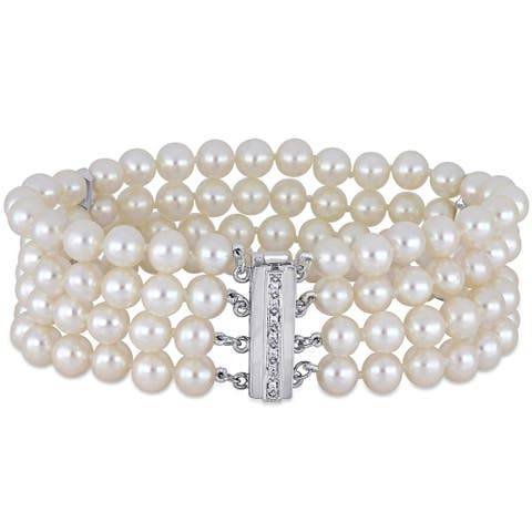 Miadora 14k White Gold Cultured FW Pearl and 1/10ct TDW Diamond 4-Strand Bracelet (5-6 mm)