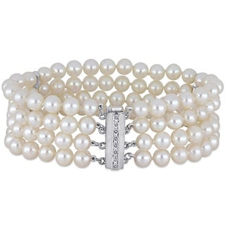 Link to Miadora 14k White Gold Cultured FW Pearl and 1/10ct TDW Diamond 4-Strand Bracelet (5-6 mm) Similar Items in Bracelets