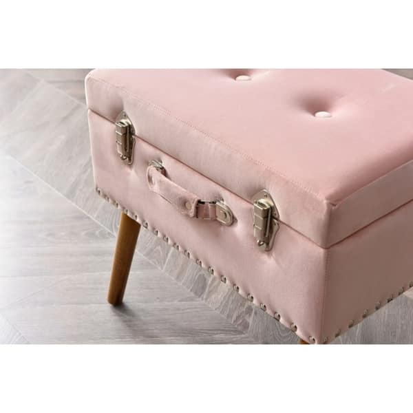Prime Shop Hodedah Pink Velvet Storage Trunk Ottoman Free Ncnpc Chair Design For Home Ncnpcorg